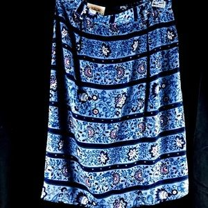 Talbots Petites Skirt 4 Blue Red White Floral